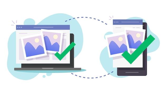 Udostępniaj Bezprzewodowo Pliki Między Telefonem Komórkowym A Komputerem Premium Wektorów