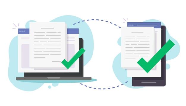 Udostępniaj Pliki Bezprzewodowo Między Komputerem A Telefonem Komórkowym Premium Wektorów