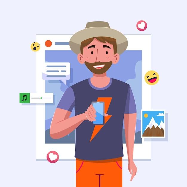 Udostępnianie Treści W Mediach Społecznościowych Człowiekowi I Smartfonowi Darmowych Wektorów