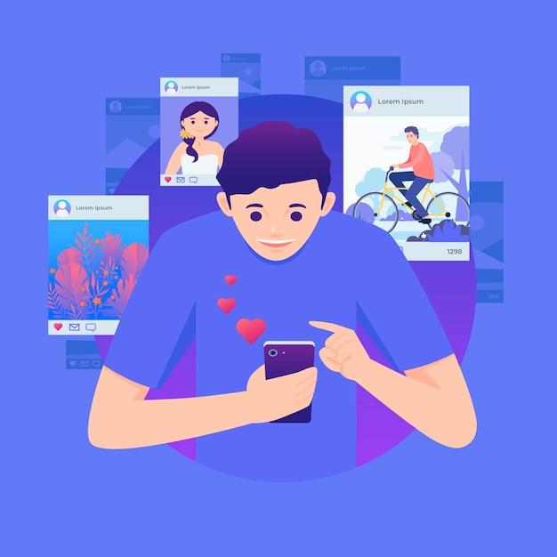 Udostępnianie Treści W Mediach Społecznościowych Z Człowiekiem Darmowych Wektorów