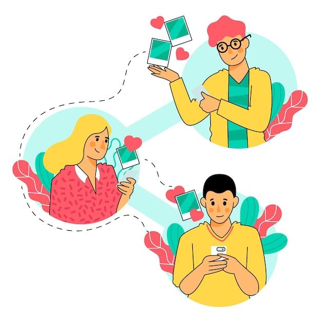 Udostępnianie Treści W Mediach Społecznościowych Darmowych Wektorów
