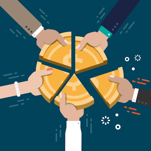 Udział w rynku koncepcji konkurencji ilustracji wektorowych Premium Wektorów