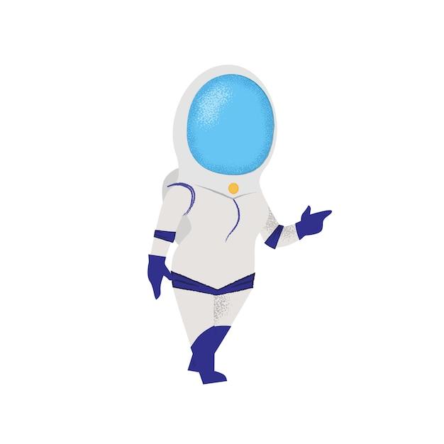 Ufny kobiety odprowadzenie w astronautycznym kostiumu. pionier, odkrywca. Darmowych Wektorów