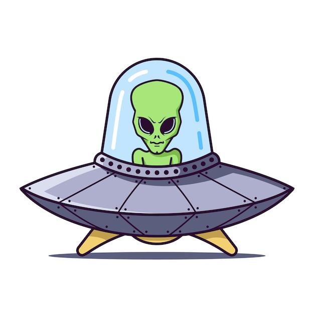 Ufo Z Zielonym Kosmitą Na Białym. Ilustracja Płaski Charakter. Premium Wektorów