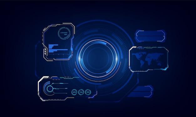 Ui hud szablon technologii systemu innowacji tło szablonu. Premium Wektorów