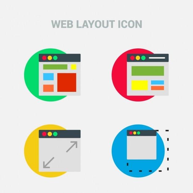 Układ design flat ikona zestaw szablonów Darmowych Wektorów