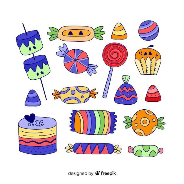 Układ kolekcji cukierków na halloween Darmowych Wektorów