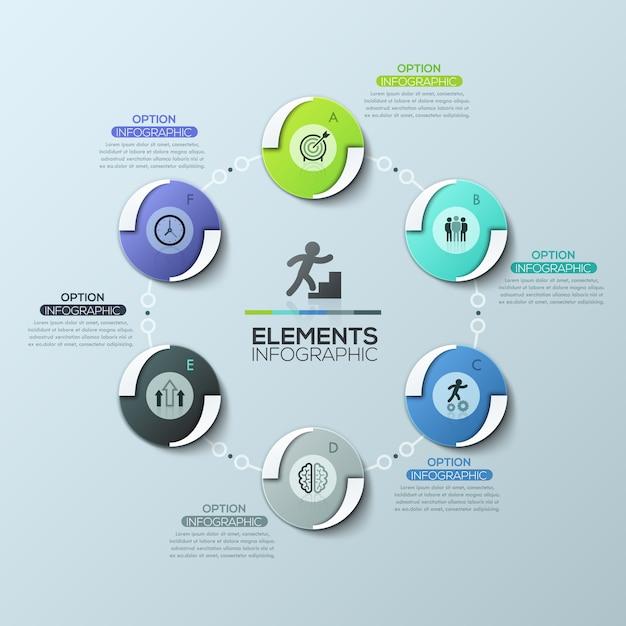 Układ Kreatywny Plansza, Okrągły Schemat Z 6 Okrągłymi Elementami Połączonymi łańcuchem, Piktogramami I Polami Tekstowymi Premium Wektorów