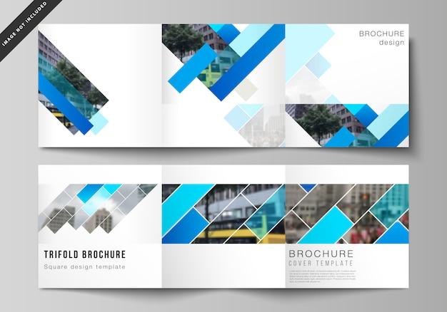 Układ kwadratowego formatu obejmuje szablony dla potrójnej broszury Premium Wektorów