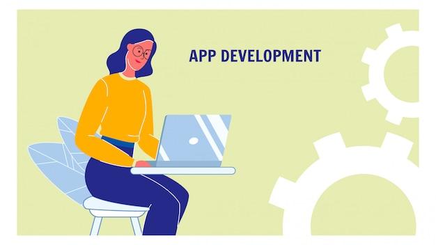 Układ rozwoju aplikacji internetowych banner wektor z tekstem Premium Wektorów