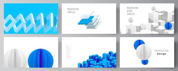 Układ Szablonów Projektów Slajdów Prezentacji, Szablon Broszury Prezentacyjnej, Okładka Broszury, Raport Biznesowy. 3d Render Kompozycji Z Dynamicznymi Geometrycznymi Niebieskimi Kształtami W Ruchu. Premium Wektorów