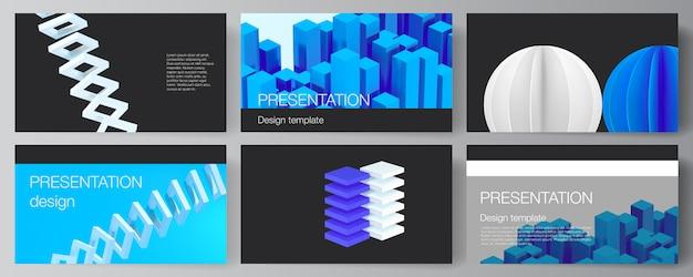 Układ Wektorowy Szablonów Projektów Slajdów Prezentacji, Szablon Broszury Prezentacji. 3d Render Kompozycji Wektorowej Z Dynamicznymi Geometrycznymi Niebieskimi Kształtami Premium Wektorów