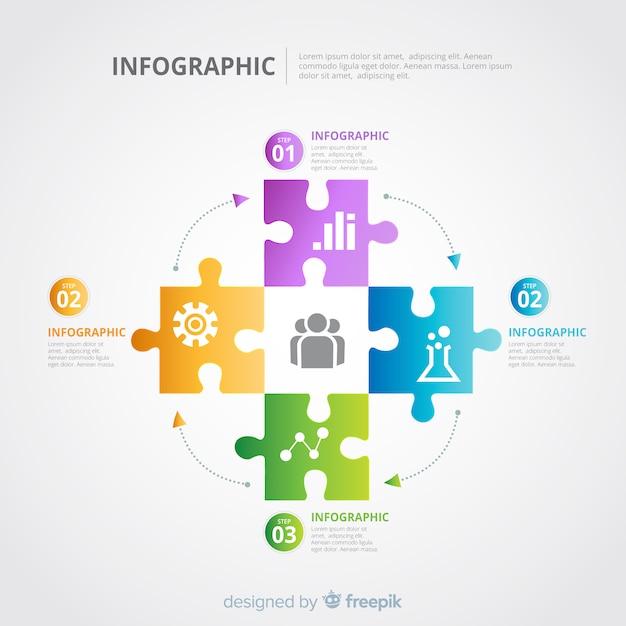 Układanka - szablon infographic Darmowych Wektorów