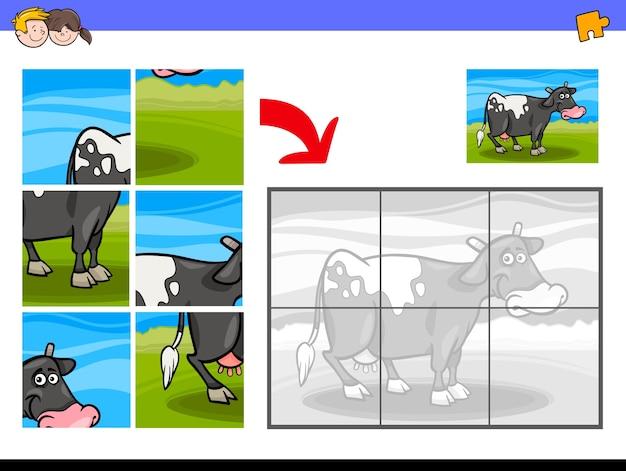 Układanki Z Charakterem Krowy Farmy Premium Wektorów