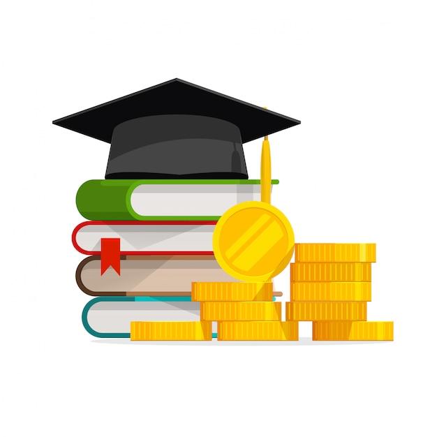 Ukończenie Studiów Kosztuje Kosztowną Edukację Lub Budżet Pożyczki Na Stypendium Premium Wektorów
