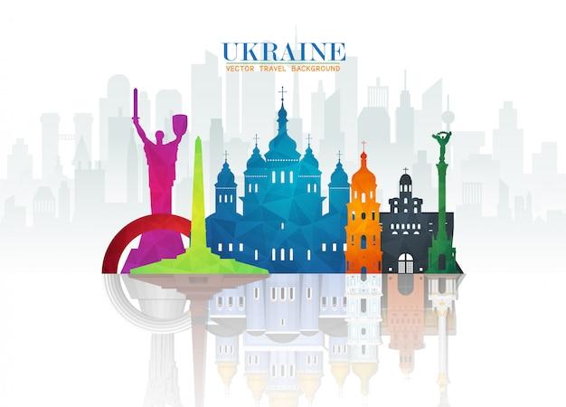 Ukraina Landmark Global Travel And Journey Tle Papieru. Premium Wektorów