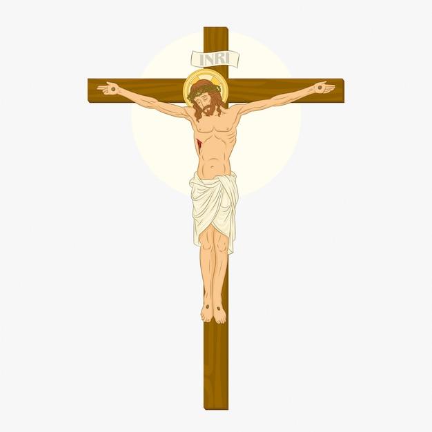 Ukrzyżowanie Jezusa Chrystusa Premium Wektorów