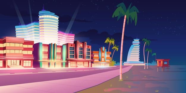 Ulica W Miami Z Hotelem I Piaszczystą Plażą W Nocy Darmowych Wektorów