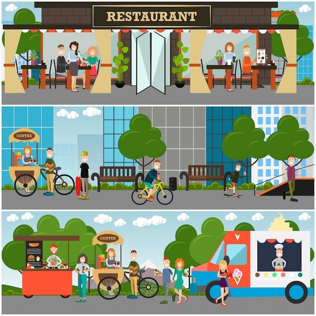 Uliczne Lokale Gastronomiczne Płaskie Premium Wektorów