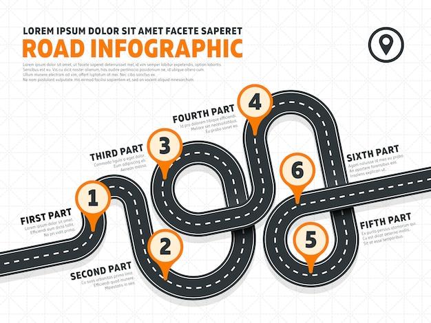 Uliczny Drogowy Biznesowy Marketingowy Wektorowy Infographics Szablon Premium Wektorów