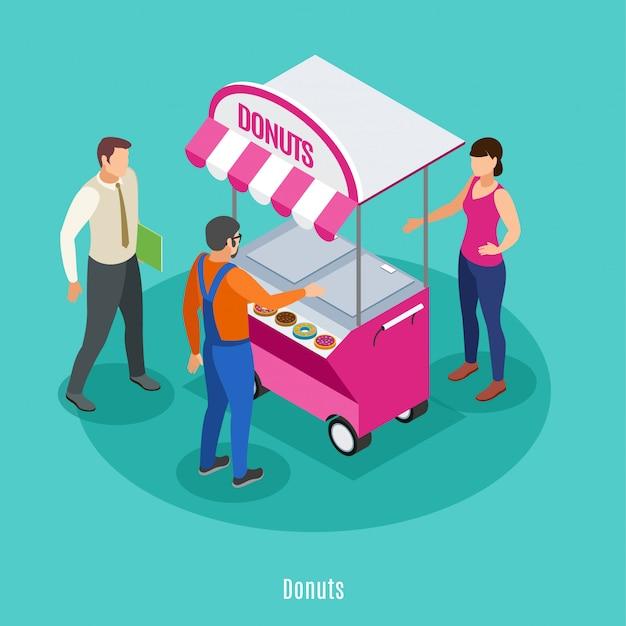 Uliczny Handel Isometric Z żeńskim Sprzedawcą Blisko Karmowej Fury I Dwa Męskich Persons Kupuje Donuts Wektoru Ilustrację Darmowych Wektorów