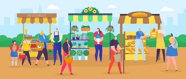 Uliczny Sklepowy Rynek, Kreskówek Ludzie Robi Zakupy Z Kupujący Torbą, Kupuje Jedzenie Lub Kwiaty, Uczciwy Tło Premium Wektorów