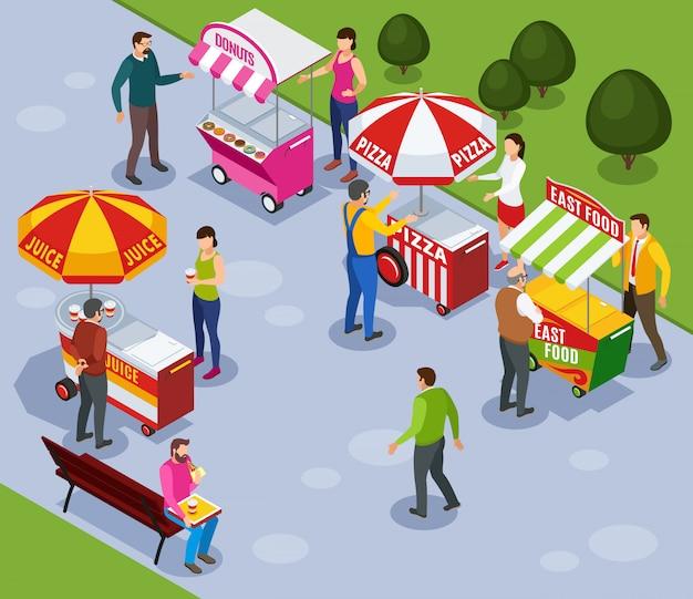 Ulicznych Automat Furman Isometric Skład Z Ludźmi Kupuje Fast Food W Miasto Parka Wektoru Ilustraci Darmowych Wektorów