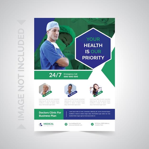 Ulotka Dotycząca Opieki Zdrowotnej I Medycznej Premium Wektorów
