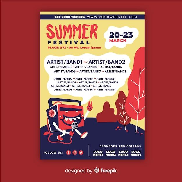 Ulotka festiwal muzyczny Darmowych Wektorów