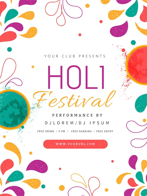 Ulotka Festiwalu Holi Premium Wektorów