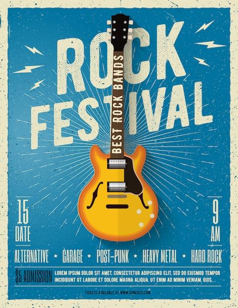 Ulotka Festiwalu Muzyki Rockowej. Ilustracja. Premium Wektorów