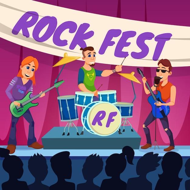 Ulotka Informacyjna Rock Fest Invitation Flat. Premium Wektorów