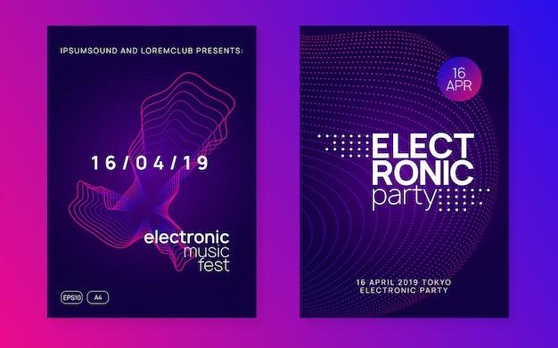 Ulotka Klubu Neonowego. Muzyka Electro Dance. Trance Party Dj. Electroni Premium Wektorów