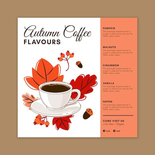 Ulotka Kwadratowa Kawiarni Premium Wektorów