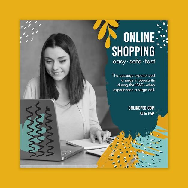 Ulotka Kwadratowa Szablonu Zakupów Online Darmowych Wektorów