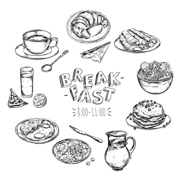 Ulotka Menu śniadaniowego żywności Darmowych Wektorów