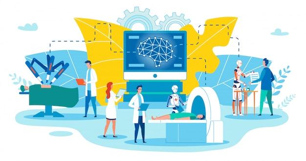 Ulotka Pozioma Użyj Robotów W Medycynie. Premium Wektorów