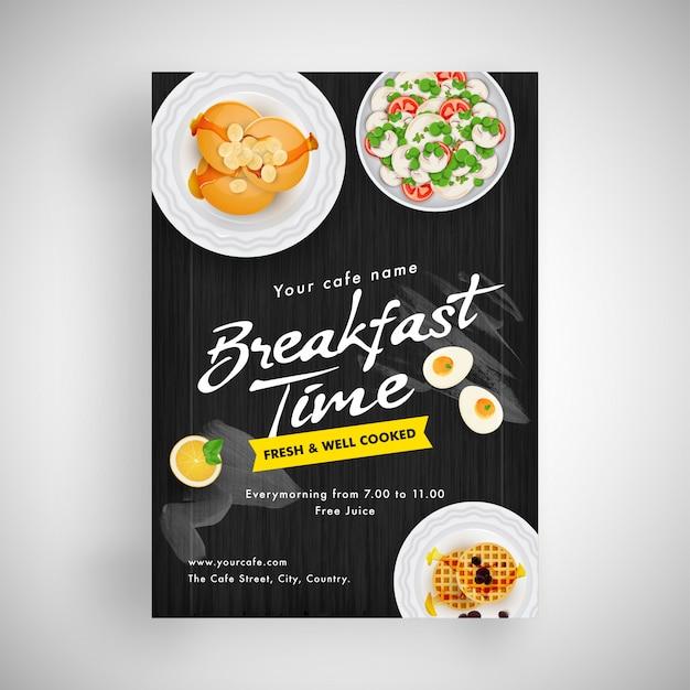 Ulotka śniadaniowa Lub Projekt Menu Dla Restauracji. Premium Wektorów