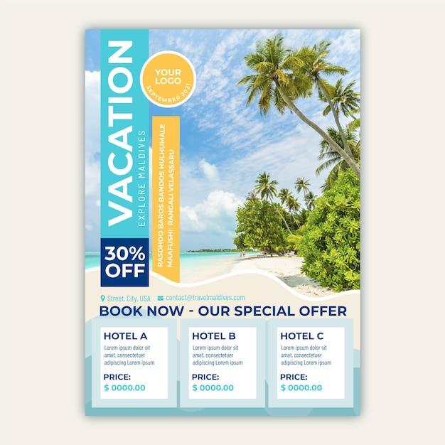 Ulotka Sprzedaży Podróży Z Plażą I Palmami Darmowych Wektorów