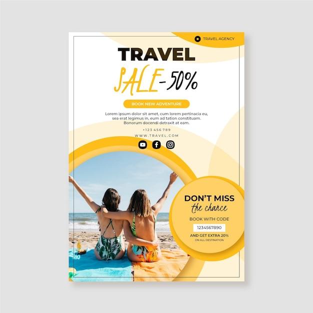 Ulotka Sprzedaży Podróży Ze Zdjęciem) Premium Wektorów