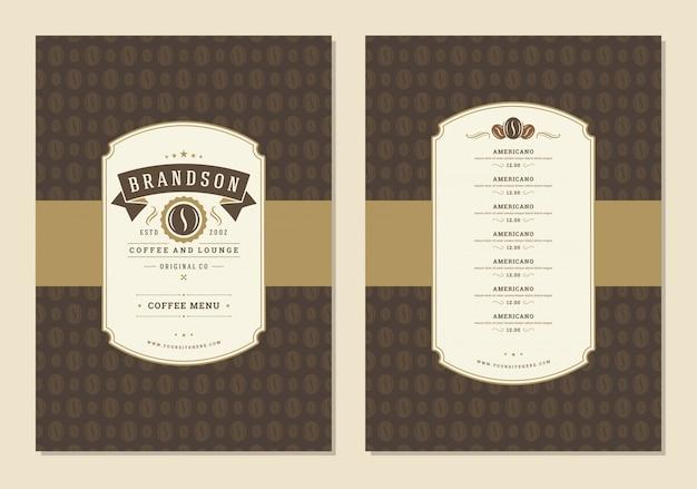 Ulotka Szablonu Projektu Menu Kawy Dla Kawiarni Z Symbolem Fasoli Kawiarni I Elementami Dekoracji Typograficznych Vintage. Premium Wektorów