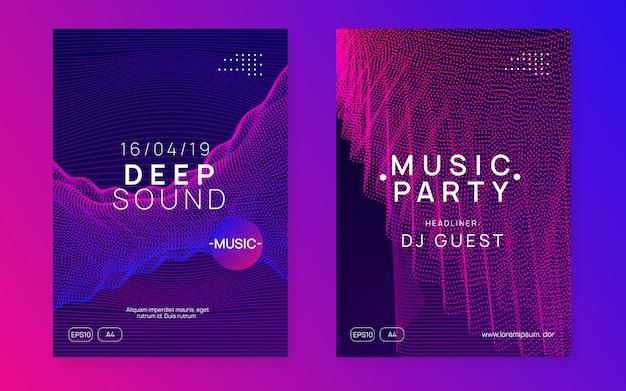Ulotka z dźwiękiem neonowym. muzyka electro dance. elektroniczna impreza fest. cl Premium Wektorów