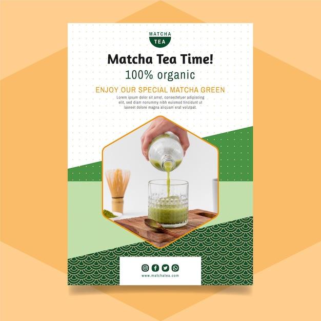 Ulotka Z Herbatą Matcha Darmowych Wektorów
