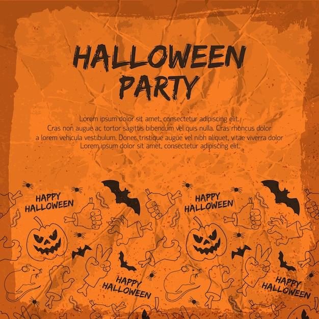 Ulotka Z Imprezą Halloween Ze Zwierzętami Latarniami Z Dyniowych Dłoni I Gestów Darmowych Wektorów