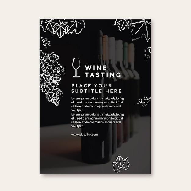 Ulotka Z Szablonem Degustacji Wina Darmowych Wektorów
