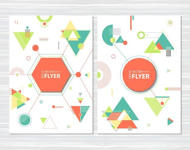 Ulotki z abstrakcyjnymi kształtami geometrycznymi Premium Wektorów