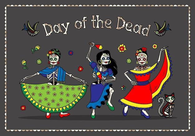 Ulotki Z Zaproszeniem Na Imprezę Kostiumową Dia De Los Muertos Z Okazji Dnia Zmarłych Premium Wektorów