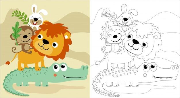 Ułożone śmieszne kreskówki dla zwierząt Premium Wektorów