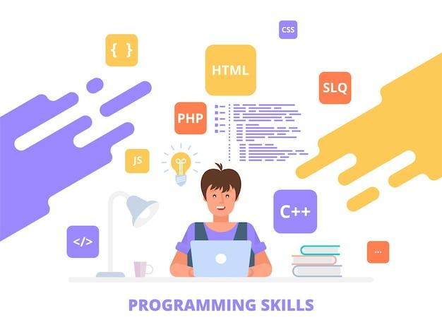 Umiejętności Programowania Pracujący Programista, Tworzenie Oprogramowania Koncepcja Płaskiej Ilustracji Może Być Wykorzystana Do Banerów Internetowych, Infografik, Obrazów Bohaterów. Premium Wektorów