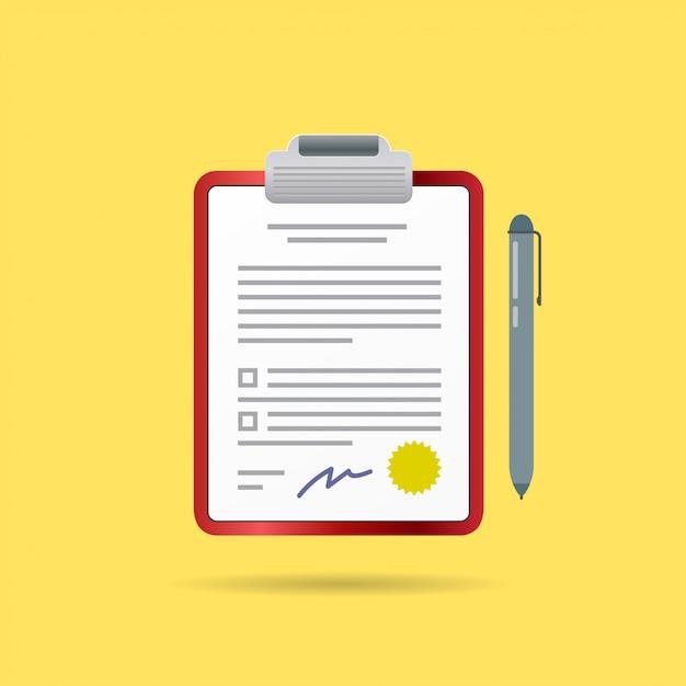 Umowa Wektorowa I Długopis Z Podpisem Premium Wektorów